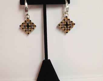 Black, Gold, and Silver Cube Earrings