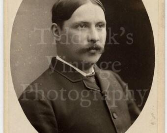 CDV Carte de Visite Photo - Victorian Young Handsome Dapper Man, Walrus Mustache Portrait - Woman Photographer Mrs. Williams, Wolverhampton