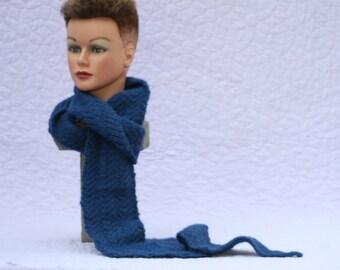 Handknit scarf, Royal Navy Blue scarf, Diagonal scarf, Extra Long scarf, Wool scarf muffler, Alpaca scarf muffler, Blue wool, Scarf for Him