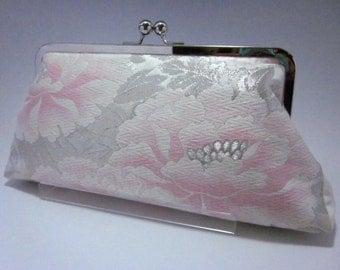 Silver pink peony kimono bag/ Vintage Kimono bag /Cross body/ Purse/ hand made/12