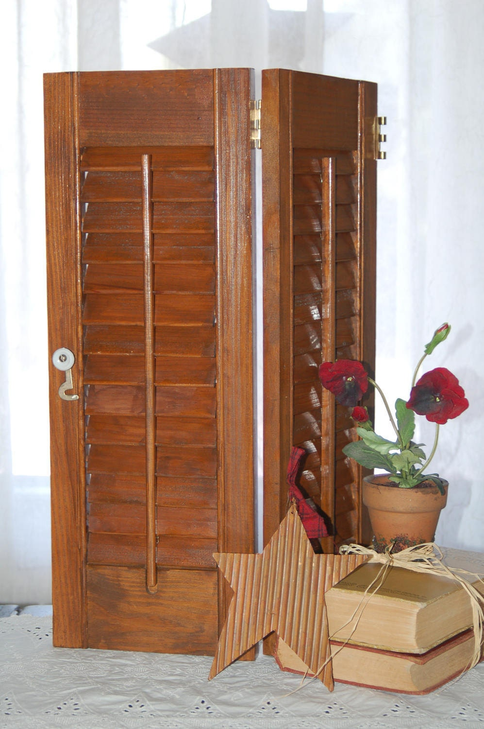 Wooden Louvered Shutters 19 High Vintage Pine Rustic