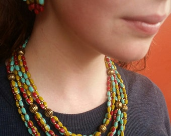 Multi-Strand Glass Bead Necklace and Earring Set. Demi-Parure. Olive, Turquoise, Carnelian Red.  Brass Spacers.