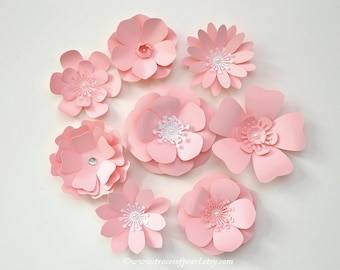 Small Pink Paper Flowers, 8 pcs. Premium Die Cut for DIY, Favors, Gifts, Spring Theme Party Decorations & more