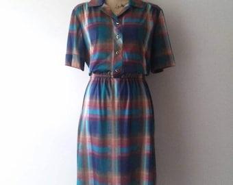 Gorgeous 70's Vintage 'Lady Carol' Plaid Dress