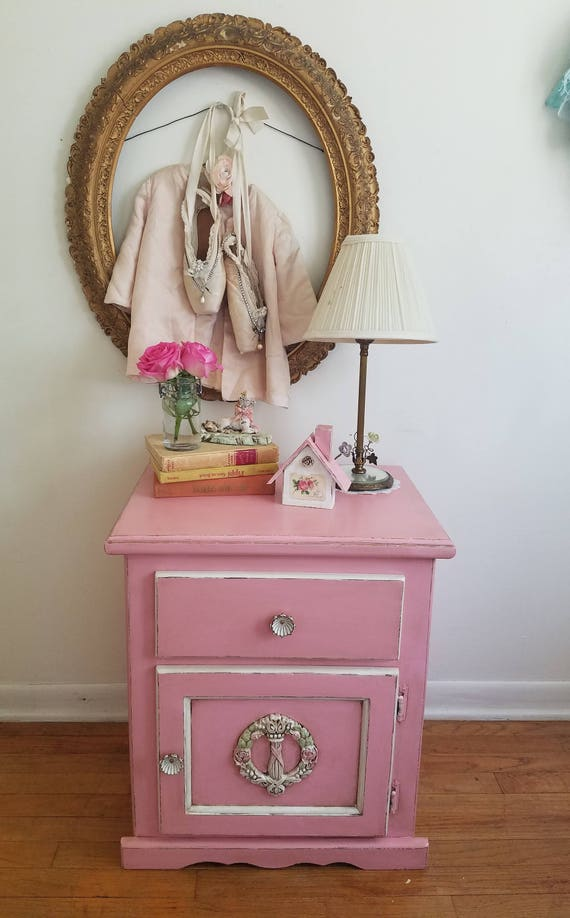 Pink Bedside Table: PINK Nightstand Side Table Kid's Room Shabby Chic Bed