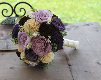 Plum, Lavender, Brown, & Champagne Sola Flower Bouquet, Plum and Lavender Bouquet, Plum Sola Wood Bouquet, Eggplant Sola Flower Bouquet