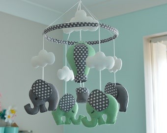 Mint Green Baby Mobile / Elephant Mobile / Baby Mobile / Hot Air Balloon / Felt Mobile -  MADE TO ORDER