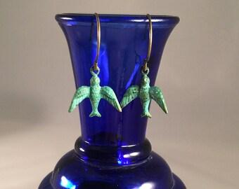 Blue green patina brass native bird earrings. Verdigris bird earrings.