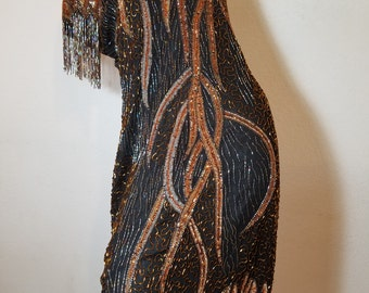 fREE SHIPPING  1980 Astract Bead Silk Dress