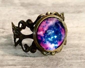 Galaxy Nebula Ring, Steampunk Ring, Steampunk Jewelry, Bronze Filigree Ring, Space Ring, Purple, Pink and Blue, Universe Ring, Dome Ring