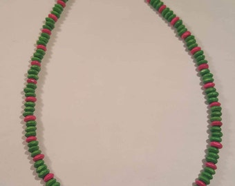 Green and pink painted wood bead necklace handmade