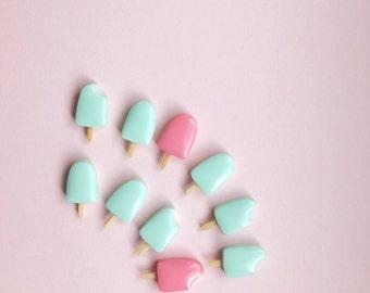 Ice Cream Earrings, small stud earrings, food earrings, popsicle, miniature food, mint earrings, colorful earrings, fun earrings