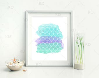 Mermaid Scales on Blue Purple and Green Watercolor - PRINTABLE Wall Art / Mermaid print / Mermaid art print / Nautical Art 2 for price of 1
