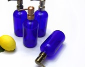 Cobalt Blue Glass Jar Soap Dispenser, Apothecary Jar - Choose Your Pump Color (10)