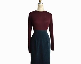 Vintage 90s Ribbed Silk Top in Burgundy / Long Sleeve Top  / Oxblood Silk Blouse - women's medium