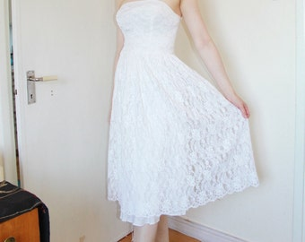 50s Vintage White Lace Wedding Dress