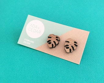 Monstera - Wood Stud Earrings with Sterling Silver - laser cut - plant
