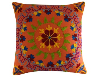 "Vibrant Orange Suzani Pillow Cover, 16x16"" Colourful Bohemian Pillow, 40x40cm Floral Boho Cushion, Embroidered Cushion Cover"