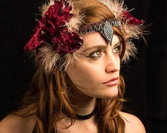 Flower Festival Headpiece, Burning Man Headpiece, Fairy headDress, Belly dance Fantasy Headpiece, Tribal fusion Headpiece Wild Fairy Feather