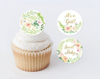 Cupcake Toppers Printable Baby Shower Cupcake Toppers Spring Floral Cupcake Rounds Floral Cupcake Toppers Sweet Baby Pink Floral Girl 262