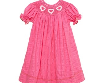 Valentine Pink Heart Smocked Dress