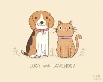 Illustrazione del ritratto personalizzato, digitale stampa 8x10 o A4, Idea regalo, cane, gatto