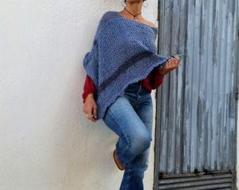 Blue jean poncho, blue knit wrap, womens ponchos, loose hand knit poncho, stripe knit poncho, cozy gift for her,