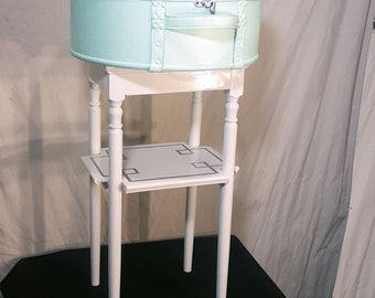 Vintage Round Hat Box Suitcase Table, Mint with White Stand