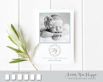 JOY Christmas Photo Card, New Baby Christmas Card, Joy Holiday Card, Christmas Card Diecut Shape, Holiday Card with Back Design