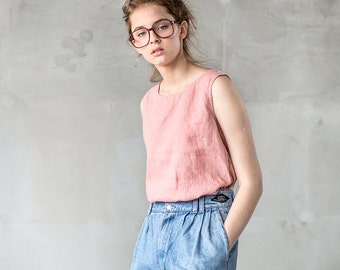 Linen tank top VIENNA / Washed Linen blouse / available in 34 colors