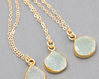 Delicate Druzy Necklace, Crystal Necklace, Simple Gold Necklace, Bridesmaid Jewelry, Simple Gemstone Necklace, Bridesmaid Necklace B34