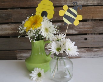 Bumble Bee Party Center Piece Sticks   Table Decorations, Spring Baby  Shower, First Birthday