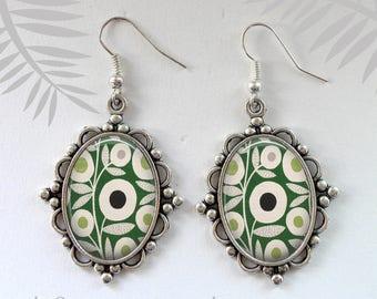 Summer Accessory, Dangle earrings, Fashion Earrings, Modern Design Earrings, Green, Oval earrings, Gift for women, Summer Earrings