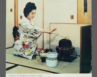 1970s Japan Tourist Association Travel Poster 19.5 x 29 Vintage Japanese Tea Ceremony Chanoyu Poster