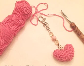 Heart Full of LOVE Keychain, heart keychain, crochet keychain, crochet heart, keychain