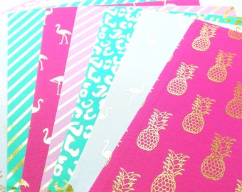 Gold foil self adhesive fabric sheets - 8 sheets - flamingos, pineapples, stripes, leopard | mint, pink, white | fabric stickers heets