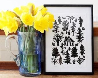 Cabin - Linocut Block Print Illustration, Nature, Trees, Forest Print, Log Cabin Artist Print 8x11