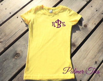Girl's Princess Fine Jersey Short Sleeve Tee (T-Shirt) with Monogram (Youth, Kids, Fitted, Embroidered, Monogrammed Shirt) 3710