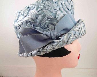 Light blue Hat, vintage, cloche hat,mid century modern,hats,1920s hat, 1930s hat,1940s hat,mid century hats,womens hats, womens accessories