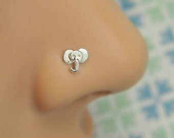 tiny ELEPHANT Nose Stud | GIFT for her | Gauge customize and shape sterling silver|nose stud piercing jewelry |100% handcrafted |by PICOLANE