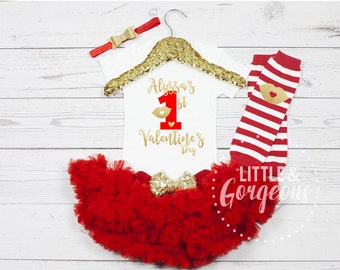 Baby's First Valentines Outfit, Girls First Valentine Outfit, 1st Valentine Outfit, Valentine Onesie, 1st Valentines Onesie, Valentines Day