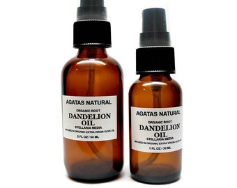 NEW - Dandelion Oil/Organic Chickweed/Dandelion Root Infused In Organic Olive Oil/Dry Skin/Eczema/Psoriasis in a glass bottle FL OZ 1.0 /2.0