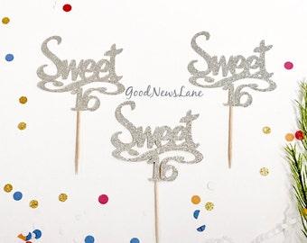 SALE 12CT Sweet 16 Cupcake Topper, Script Font Sweet Sixteen Glitter Birthday Cake Topper, Sweet 16, 16th Birthday Cake Topper