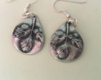 "Sterling silver ""wild Maine strawberry leaf"" dangle earrings."