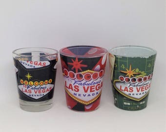 3 Las Vegas Shot Glasses, Bar Ware, Shot Glasses, Vegas Shot Glasses, Las Vegas Nevada Glasses, Bar Accessory, Bar Decor