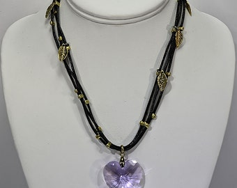 Lilac Swarovski Heart Pendent with Black leather and Gold