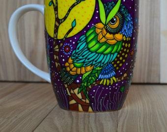 Owl mug Hand painted mug Colorful owl coffee mug Multicolor owl painted mugs Purple mug Cute mug Gift for coworker Painted mugs Owl lovers