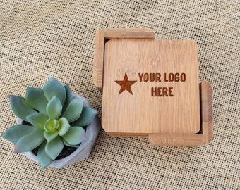 Custom Logo Coaster Set, Business Logo Coasters, Company Logo Coasters, Corporate Coasters, New Job Gift, Graduation Gift, Laser Engraved