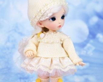 "Outfit ""Dwarf"" for Pukifee, Lati Yellow(hat, sweater, skirt, tights, leg warmers) 1/8 bjd doll"