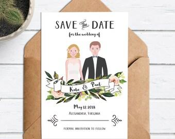 Wedding Couple Portrait Illustration - Wedding Save the Date Couple Drawing -Custom Portrait Invite Rustic- Cartoon Wedding Invitation